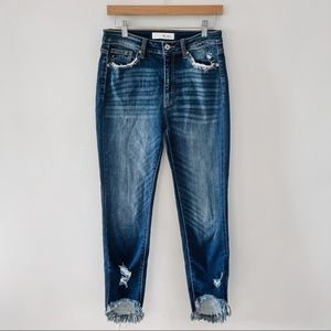 KANCAN   High Rise Dark Wash Shark Bite Distressed Skinny Jeans Sz 28